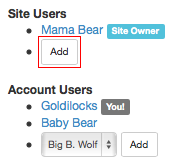 Add Site User Button